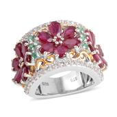 Niassa Ruby, Kagem Zambian Emerald, Ruby 14K YG Over and Sterling Silver Ring (Size 9.0) TGW 11.825 cts.