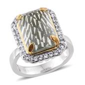 Everlasting by Katie Rooke Green Amethyst, White Topaz 14K YG and Platinum Over Sterling Silver Statement Ring (Size 7.0) TGW 7.800 cts.