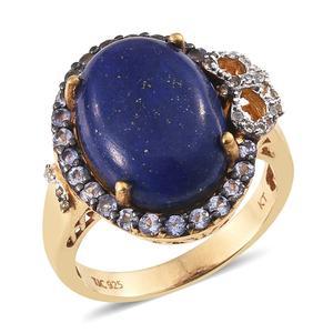 Lapis Lazuli, Tanzanite, White Topaz 14K YG Over Sterling Silver Ring (Size 9.0) TGW 14.500 cts.