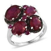 Niassa Ruby, Ruby, Thai Black Spinel Platinum Over Sterling Silver Ring (Size 7.0) TGW 9.970 cts.