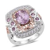 Kunzite, White Zircon, Pink Sapphire 14K RG and Platinum Over Sterling Silver Ring (Size 7.0) TGW 3.92 cts.