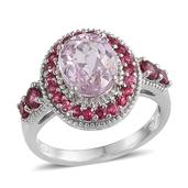 Kunzite, Mahenge Pink Spinel Platinum Over Sterling Silver Ring (Size 7.0) TGW 4.40 cts.