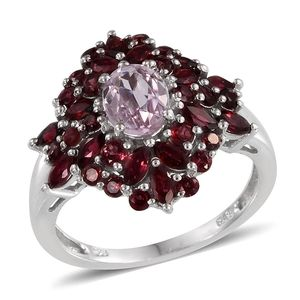 Kunzite, Mahenge Red Spinel Platinum Over Sterling Silver Ring (Size 7.0) TGW 3.940 cts.
