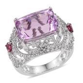 14K WG Kunzite, White Zircon, Pink Tourmaline Openwork Ring (Size 7.0) TGW 11.500 cts.
