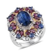 Himalayan Kyanite, Orissa Rhodolite Garnet, White Topaz 14K YG and Platinum Over Sterling Silver Statement Ring (Size 8.0) TGW 7.38 cts.