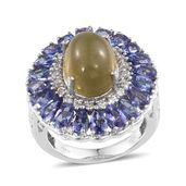 Cats Eye Apatite, Tanzanite, White Topaz Platinum Over Sterling Silver Ring (Size 7.0) TGW 12.800 cts.