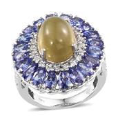 Cats Eye Apatite, Tanzanite, White Topaz Platinum Over Sterling Silver Ring (Size 8.0) TGW 12.800 cts.