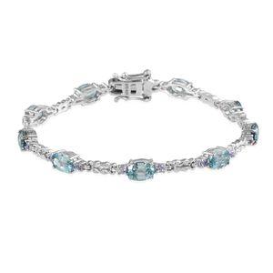 Cambodian Blue Zircon, Tanzanite Platinum Over Sterling Silver Bracelet (7.50 In) TGW 12.070 cts.
