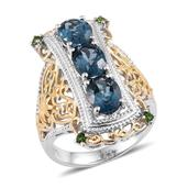London Blue Topaz, Russian Diopside 14K YG and Platinum Over Sterling Silver Ring (Size 9.0) TGW 4.270 cts.
