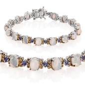 Ethiopian Welo Opal, Tanzanite 14K YG and Platinum Over Sterling Silver Bracelet (7.50 In) TGW 10.550 cts.