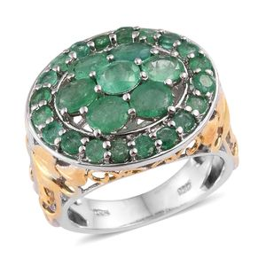 Kagem Zambian Emerald 14K YG and Platinum Over Sterling Silver Ring (Size 7.0) TGW 4.05 cts.