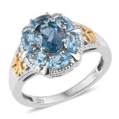 London Blue Topaz, Electric Blue Topaz 14K YG and Platinum Over Sterling Silver Ring (Size 7.0) TGW 3.000 cts.