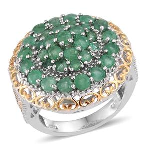 Kagem Zambian Emerald 14K YG and Platinum Over Sterling Silver Ring (Size 7.0) TGW 3.60 cts.