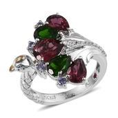 Royal Jaipur Orissa Rhodolite Garnet, Multi Gemstone Platinum Over Sterling Silver Ring (Size 8.0) TGW 5.160 cts.