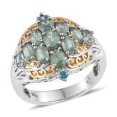 Green Kyanite, Malgache Neon Apatite 14K YG and Platinum Over Sterling Silver Openwork Ring (Size 7.0) TGW 3.770 cts.