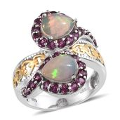Ethiopian Welo Opal, Orissa Rhodolite Garnet 14K YG and Platinum Over Sterling Silver Bypass Ring (Size 6.0) TGW 4.560 cts.