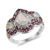 Ethiopian Welo Opal, Pink Tourmaline 14K YG and Platinum Over Sterling Silver Ring (Size 6.0) TGW 2.93 cts.