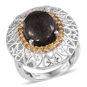 Black Feldspar, Brazilian Citrine Platinum Over Sterling Silver Openwork Statement Ring (Size 9.0) TGW 8.40 cts.