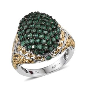 Royal Jaipur Kagem Zambian Emerald, Ruby 14K YG and Platinum Over Sterling Silver Openwork Cluster Ring (Size 6.0) TGW 2.730 cts.