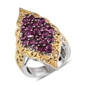 Royal Jaipur Orissa Rhodolite Garnet, Ruby 14K YG and Platinum Over Sterling Silver Openwork Elongated Ring (Size 5.0) TGW 3.640 cts.