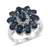 London Blue Topaz, White Topaz Platinum Over Sterling Silver Ring (Size 6.0) TGW 6.600 cts.