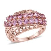 Madagascar Pink Sapphire 14K RG Over Sterling Silver Ring (Size 5.0) TGW 3.00 cts.