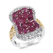 Niassa Ruby, White Topaz 14K YG and Platinum Over Sterling Silver Openwork Elongated Cluster Ring (Size 10.0) TGW 8.000 cts.