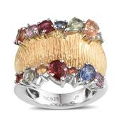 Jewel Studio by Prachi Multi Gemstone 14K YG and Platinum Over Sterling Silver Ring (Size 9.0) TGW 2.340 cts.