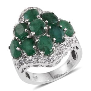 Kagem Zambian Emerald, White Topaz Platinum Over Sterling Silver Ring (Size 8.0) TGW 7.000 cts.
