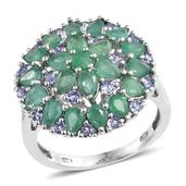 Kagem Zambian Emerald, Tanzanite, Diamond Platinum Over Sterling Silver Cluster Ring (Size 5.0) TGW 3.60 cts.