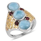 Larimar, Anthill Garnet 14K YG and Platinum Over Sterling Silver Ring (Size 7.0) TGW 6.860 cts.