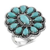 Santa Fe Style Sonoran Blue Turquoise Sterling Silver Ring (Size 6.0) TGW 6.000 cts.