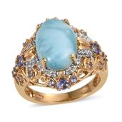 Larimar, Tanzanite, White Topaz 14K YG Over Sterling Silver Ring (Size 7.0) TGW 6.180 cts.