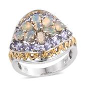 Ethiopian Welo Opal, Tanzanite 14K YG and Platinum Over Sterling Silver Ring (Size 7.0) TGW 3.580 cts.