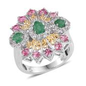 Kagem Zambian Emerald, Mahenge Pink Spinel, White Topaz 14K YG and Platinum Over Sterling Silver Ring (Size 5.0) TGW 2.930 cts.