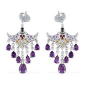 Treasures from the Orient Multi Gemstone Sterling Silver Dangle Earrings TGW 3.80 cts.