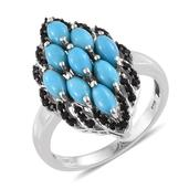Arizona Sleeping Beauty Turquoise, Thai Black Spinel Platinum Over Sterling Silver Ring (Size 10.0) TGW 2.860 cts.