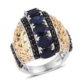 Kanchanaburi Blue Sapphire, Thai Black Spinel 14K YG and Platinum Over Sterling Silver Ring (Size 6.0) TGW 8.590 cts.