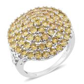 Yellow Sapphire Platinum Over Sterling Silver Cluster Ring (Size 10.0) TGW 4.50 cts.