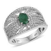 Kagem Zambian Emerald, White Topaz Platinum Over Sterling Silver Ring (Size 7.0) TGW 2.240 cts.