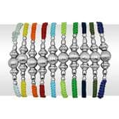Multi Color Set of 10 Bracelets With Charms (Adjustable)