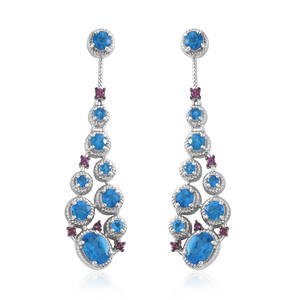 Malgache Neon Apatite, Orissa Rhodolite Garnet Platinum Over Sterling Silver Drop Earrings TGW 23.849 Cts.