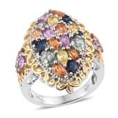 Multi Sapphire, White Topaz 14K YG and Platinum Over Sterling Silver Openwork Ring (Size 8.0) TGW 4.48 cts.