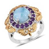 Larimar, Amethyst, White Topaz 14K YG and Platinum Over Sterling Silver Ring (Size 9.0) TGW 6.430 cts.