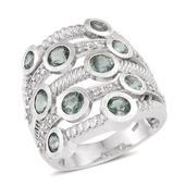 Green Kyanite, White Topaz Platinum Over Sterling Silver Openwork Ring (Size 7.0) TGW 5.150 cts.