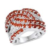Jalisco Cherry Fire Opal, White Topaz Platinum Over Sterling Silver Ring (Size 5.0) TGW 3.620 cts.