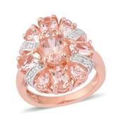 Marropino Morganite, White Topaz 14K RG Over Sterling Silver Ring (Size 7.0) TGW 3.52 cts.