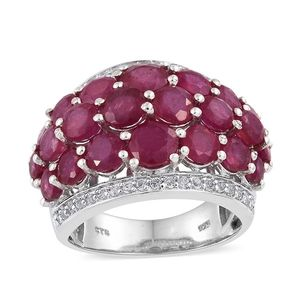 Niassa Ruby, White Topaz Platinum Over Sterling Silver Cluster Ring (Size 7.0) TGW 10.46 cts.