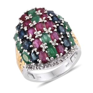 Multi Gemstone 14K YG and Platinum Over Sterling Silver Ring (Size 6.0) TGW 8.66 cts.
