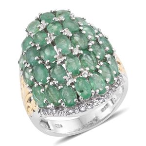 Kagem Zambian Emerald, White Topaz 14K YG and Platinum Over Sterling Silver Ring (Size 5.0) TGW 6.56 cts.